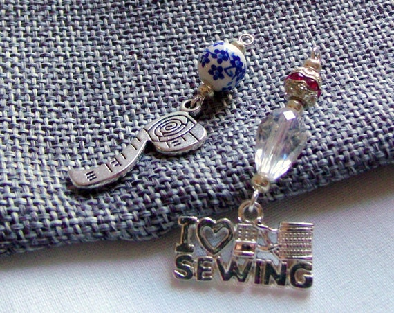 Sewing charms - Quilt add on gifts - zipper pull - scissor minder - sewing group gift - I love Sewing - scissor fob - Quilting bee - thimble