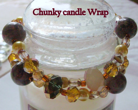 Chunky fall candle ring - crystal candle garland - gemstone candle ring - 14 inch candle wrap - candle bling - fall hostess gift - Pillar