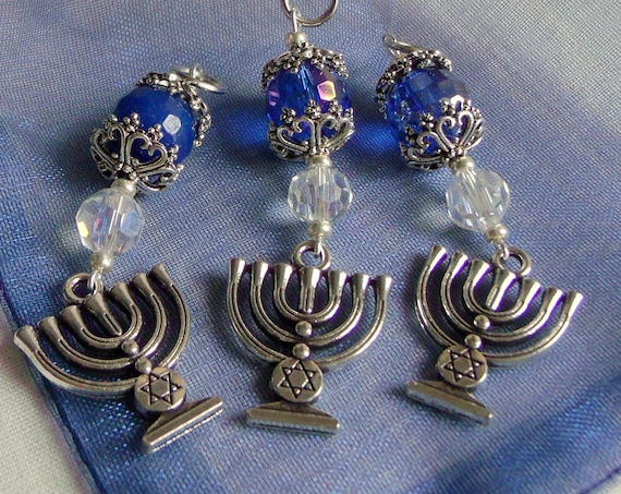Menorah gift set - judaica  party favors - Hanukkah charm - ornaments -  blue gift - Jewish holidays - home decor ideas