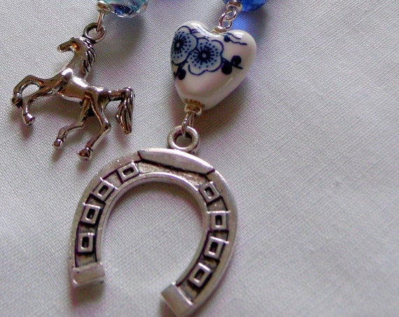 Horse Christmas ornament - Equestrian tree decor - Large silver stallion charm -  blue horse shoe charm  -  bless our barn - country decor