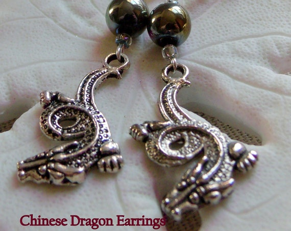 Dragon earrings  - purple crystal earrings - gaming gift  - silver charm earrings - mystical earrings - Chinese dragon charm - Lizporiginals