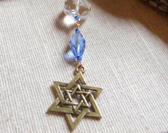 Hanukkah gift - Judaica - Star of david zipper pull - Bar and bat mitzvah party favors  - Travel journal charm - bronze  Star of David