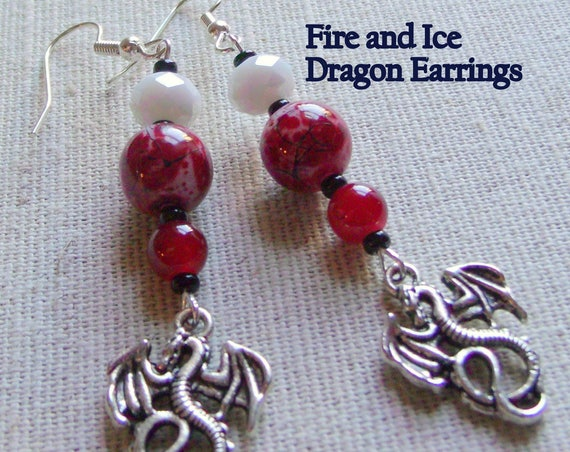 Red dragon earrings - mystical beast - fantasy earrings - Fire and Ice - charm earrings - red garnet bead - gift for Gamer -Lizporiginals