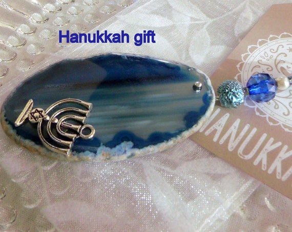 Hanukkah decorations  - deep blue gem stone - menorah charm - Jewish holiday gift - geode slice - agate pendant - Judaic gift - sun catcher