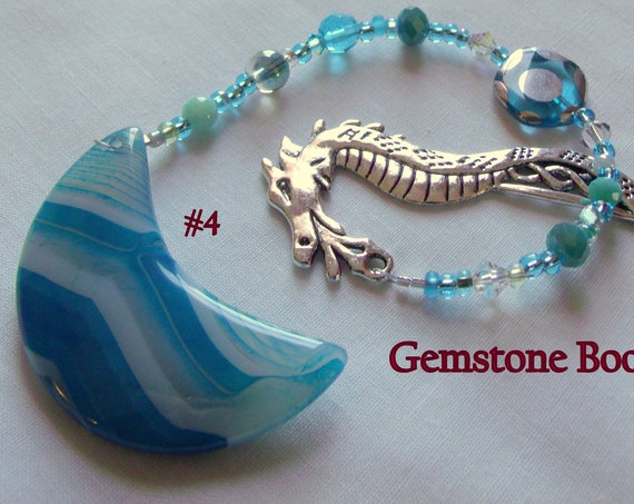 Gemstone bookmark - blue honey agate heart  -  aqua moon agate reading accessory - beaded page marker -  Gift for Reader - dragon bookmark