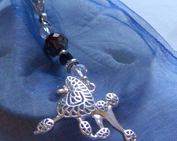 I love my Poodle zipper pull - show dog present - large poodle charm - dog journal clip - pack pack charm -stylish silver purse charm