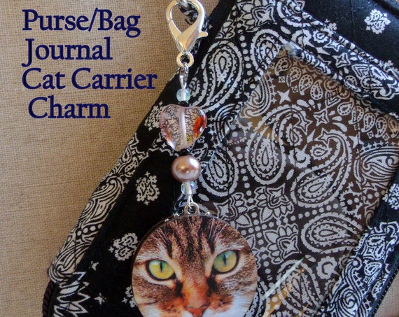 Cat zipper pull - I love my cats - bag charm - key ring with cat - round disk cat sun catcher - tiger cat - cute cats - cat ornament Gift