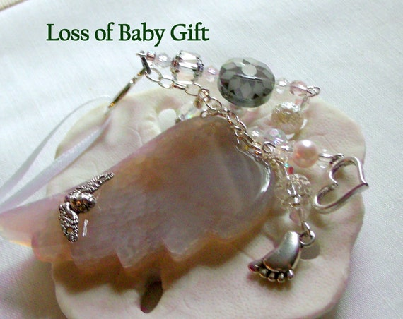 Loss of baby gift - pink agate wing ornament - baby shower - Christening memento - Miscarriage gift - protect my baby -  Infant loss