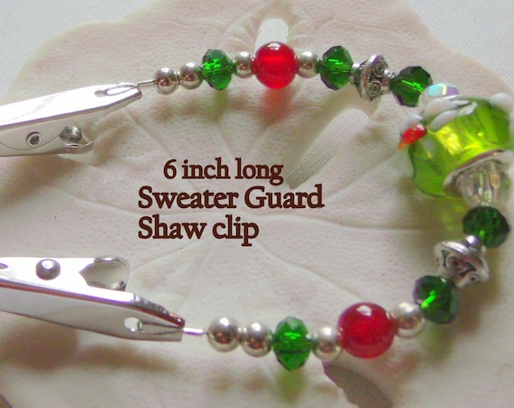 "6 "" Sweater or Shawl clip with elegant silver beads  and red agate beads - floral green red European bead - Sweater guard clip -  Christmas"