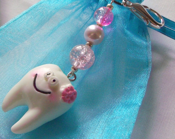 Tooth fairy zipper pull - boy/girl - large molar - dental gift - pink whimsical teeth - blue dental assistant - appointment reminder