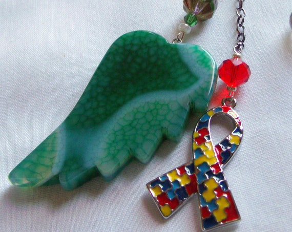 Autism car charm - window pendant - Puzzle ribbon charm - awareness - special mom gift - personalized memory wing - awareness - green agate