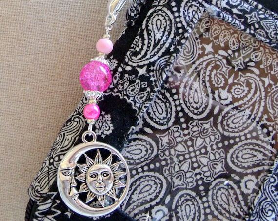 Moon and sun zipper pull - celestial charm - night time bag charm - journal clip - party gifts - half moon - beaded sun charm - purse