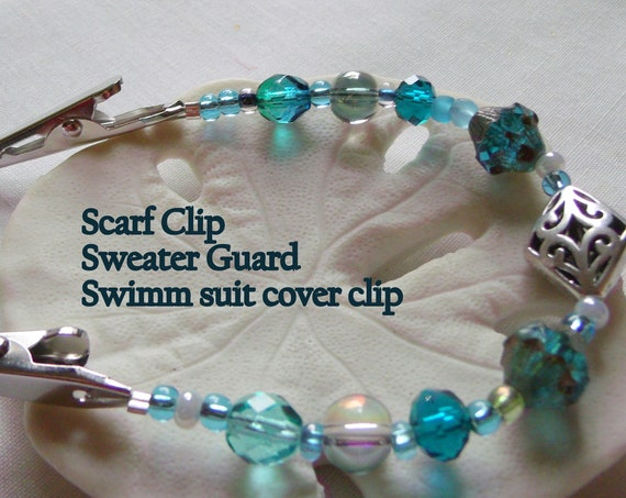 """7 """" Sweater or Shawl clip with elegant multi-faceted openwork silver and aqua blue crystals - sweater guard clip - swim cover up clips"""