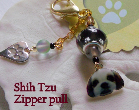 Dog pouch clip - for sling carrier - stylish Shih Tzu Zipper pull - small fur baby  gift - I love my dog - Journal paw charm - Lizporiginals