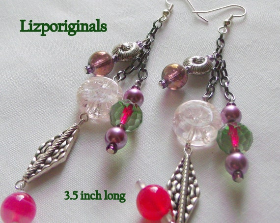 Statement earrings - stylish tassel earrings - agate earrings - Club earrings - Shell Resort wear - pink crystal earrings - Lizporiginals