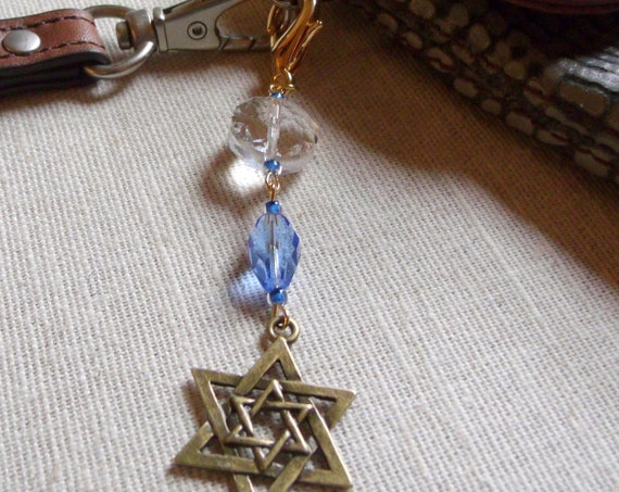 Star of david zipper pull - Bat mitzvah party favors  - Travel journal charm - bronze purse charm - Stand for Israel reminder - Judaica