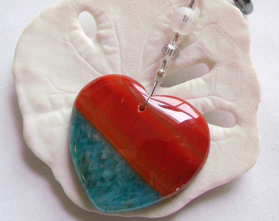 Agate pocket stone - for anxiety - stress relief - car charm - yoga gift -  honey Heart zipper pull - worry gems - Namaste - Wellness Gift