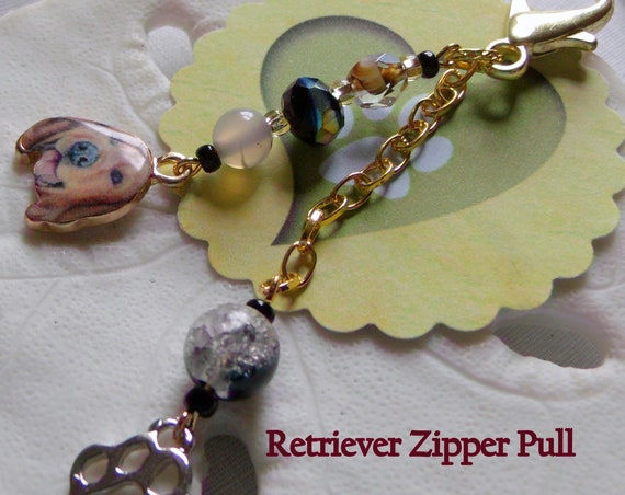 Golden Retriever  pull - dog zipper pull - I love my dog accessory - Journal charm - paw print dog zipper pull - Lizporiginals