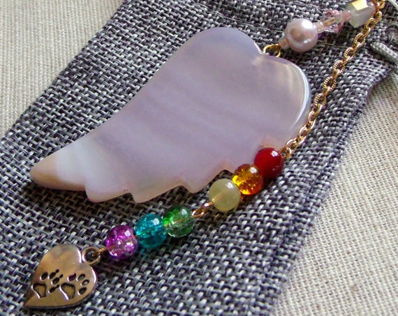 Pet loss Gift - white agate wing - light pink angel wing memento - pet memento -  pet sympathy gift - window ornament -  furry friend - paw