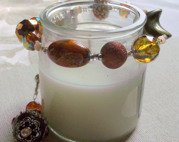 "13 ""  Warm brown candle garland - chunky beads - crystal candle ring -  fall decor - candle wrap - for glass candle - tin - pillar - gift"