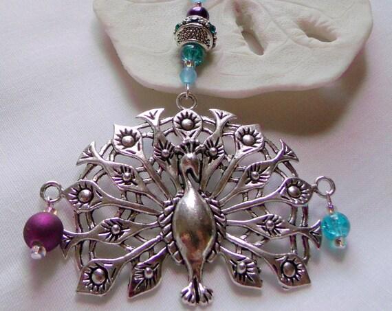 Large silver Peacock ornament - ornate silver  - aqua home decor - holiday pendant - purple teal bead -  snowflake gift box -  Lizporiginals
