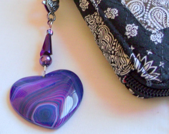Healing pocket stone - agate necklace - purple pendants - heart fidget stone - sun catcher - support anxiety - PTSD - gem zipper pull - OCD