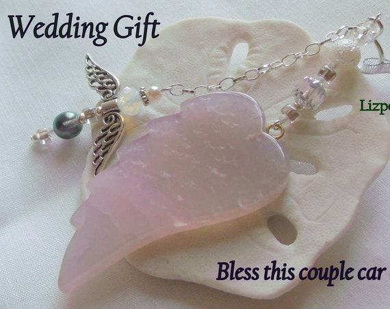 Wedding blessing gift - bridal memento - bless this union - commitment  - angel wing car charm - protect us - personalized couple gift
