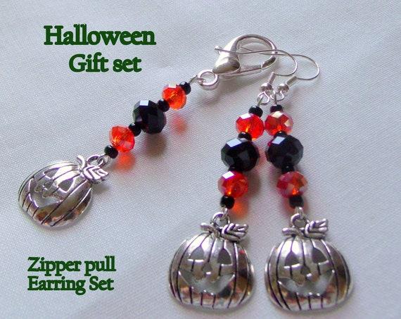 Halloween gift set - pumpkin zipper pull - pumpkin earrings - orange crystal pumpkin set - Smiling pumpkin Halloween  accessory - fall gift