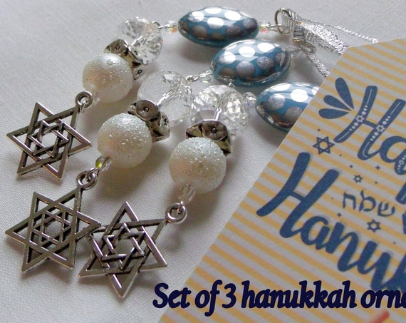 Hanukkah decorations - Stand for Israel  gift - ornaments -  oval silver dot bead -  Jewish holiday gifts - star of David charm - blue decor