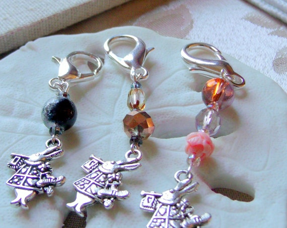 Alice Story book Charms - zipper pulls - Alice in wonderland- tea party  - Mad hatter - Mr rabbit - stitch marker - crochet - Knitting gift