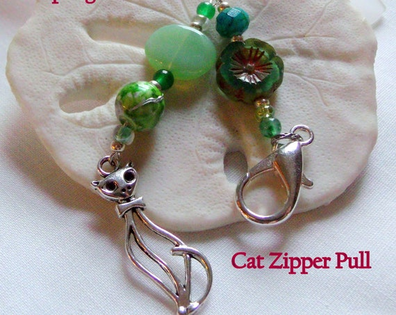 Large cat charm Zipper pull - French cat -  silver katzen charm - Purse charm -  for the travel planner - cat lover Gift - Tote bag clip