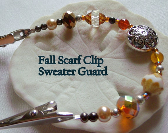 """7 """" Sweater or Shawl clip with elegant multi-faceted crystals and openwork silver bead - sweater guard clip - earth shades - Autumn Gift"""