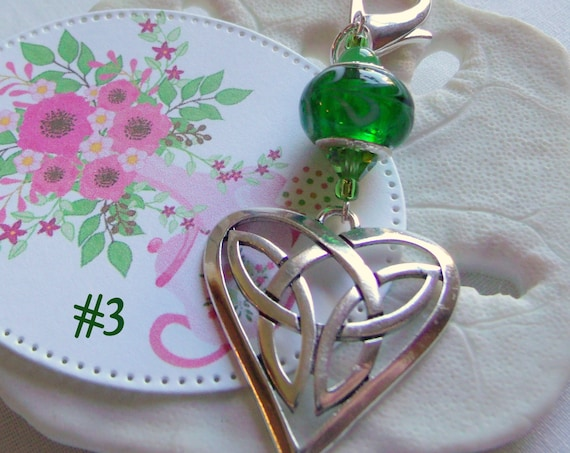 St Patrick' s day gift - luck of the Irish - green silver heart charm - Celtic Knot heart - Ireland inspired - zipper pull - travel journal
