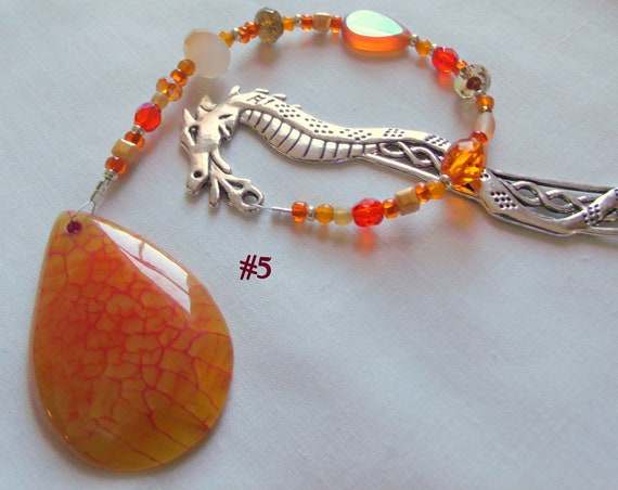 Dragon bookmark -  natural heart agate - moon pendant  - Gemstone page marker - reading club gift - for fantasy Readers - Celtic Dragon