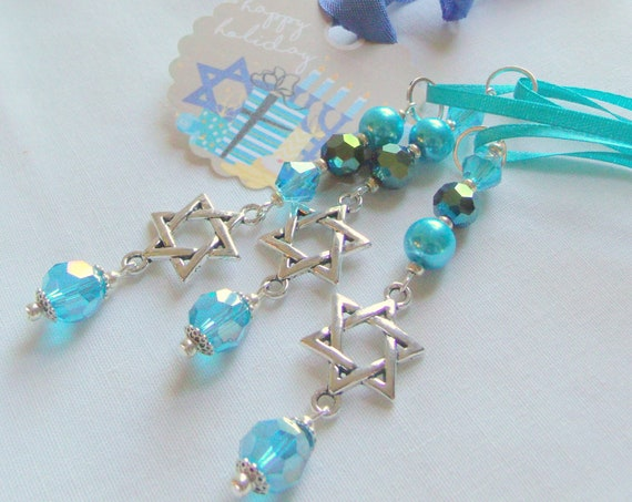 Hanukkah ornaments - small gift set - aqua crystals - hanging home decor - star of David - set of 3 - Hostess Seder gift - Lizporiginals