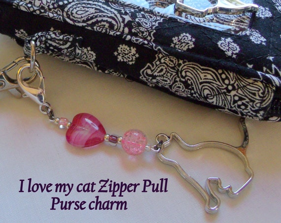 Large cat bag charms - for cat lovers  - pet travel bag clip -  pink planner charms -  blue cat zipper pull - cat birthday party favors