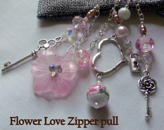 New mom gift - pink flower heart zipper pull - Key tassel charm - gift of love - custom gift for sweetheart - Mothers day - beloved wife