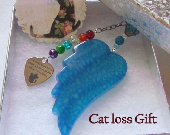 Pet loss gift - aqua wing ornament - agate pendant - angel wing - Pet sympathy gift - Cat loss - window ornament - fur baby memento