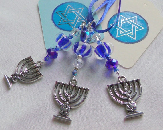 Menorah ornaments - holiday gift - blue white ceramic beads - home decor - set of 3 Star of David charms - blue crystal party favors