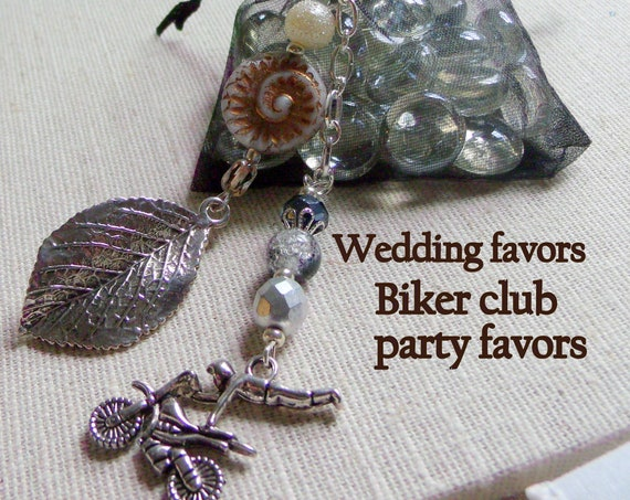 Biker chick wedding favors - motorcycle zipper pulls - key chain - angel protection charm - heart zipper pull - Fall gift - biker babe charm