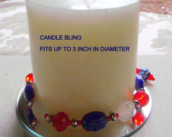 Patriotic candle ring - Red blue garland - cottage farmhouse gifts - Pillar candle bling - US army - american flag - for summer parties