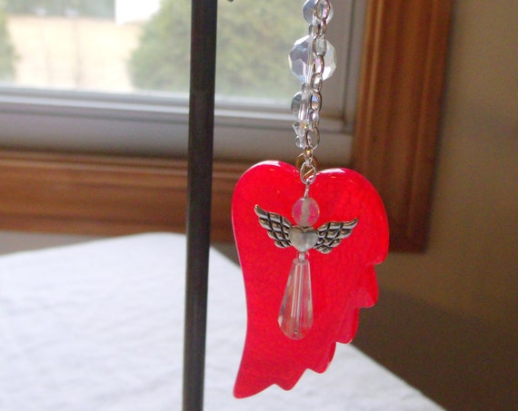 First responder Gift - red car charm - Agate wings - Ambulance driver - fire department - EMT - Guardian angel - 911 helper - Dispatcher