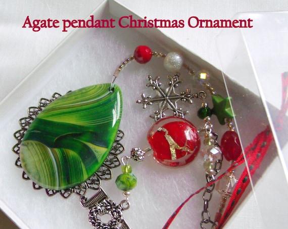 Christmas gemstone ornament - tree charm - holiday decor ideas -  green striped agate pendant - star - window - secret Santa for women