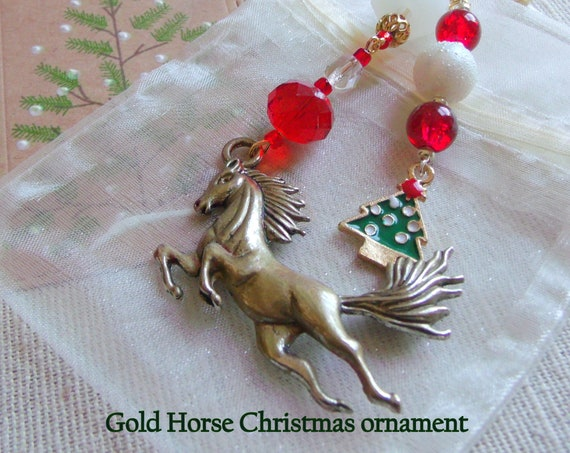 Horse Christmas ornament - country living - Equestrian club gift - girls riding holiday gift - Horse lover memento - gold wild stallion