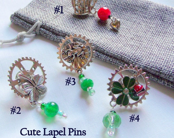 Charm lapel pins - nature inspired collar brooches - bag charms - green red beaded brooches - for garden lover - good luck pins - shamrock