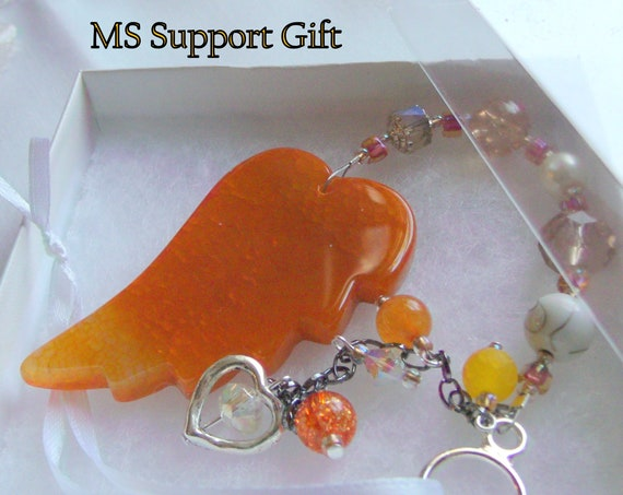 Custom MS warrior gift - angel wing car charm - multiple sclerosis fundraiser - awareness - MS hope - window sun catcher - orange agate