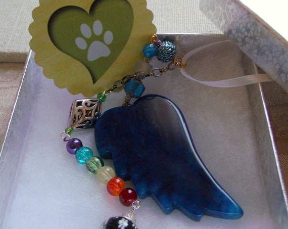 Pet loss gift - aqua angel wing ornament - wellness - wings of hope - pet memorial gift - personalize - agate pendant - window ornament