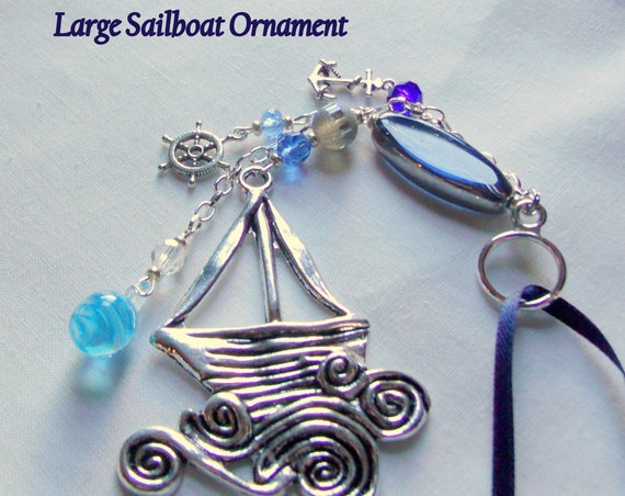 Custom Sailboat ornament - sailing Christmas gift - yacht club present -  for the captain - Regatta - aqua blue anchor charm - helm keepsake