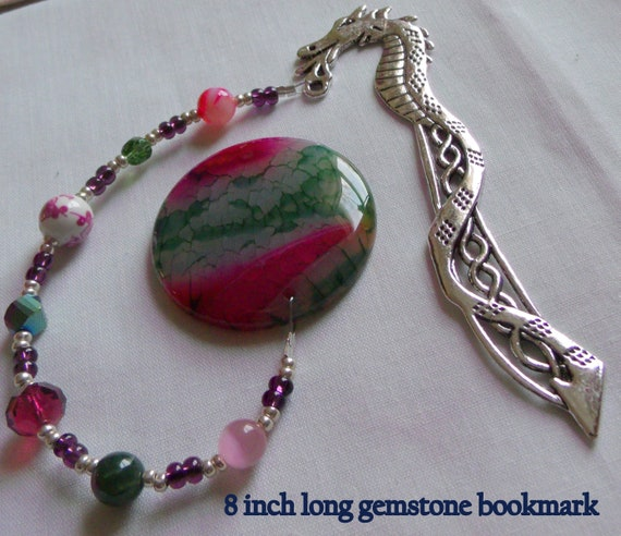 Green pink agate bookmark - gemstone - page marker  - silver dragon pagemarker - Viking - Chinese New year - book club gift - fantasy