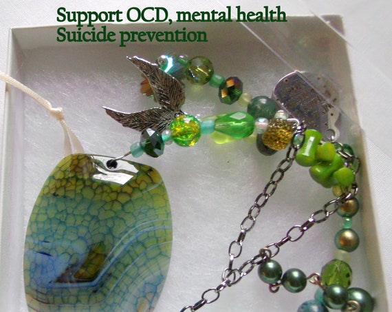 Green mental support sun catcher - depression awareness  -  Psych hospital stay gift - get well present - green hope gift -  OCD - PTSD